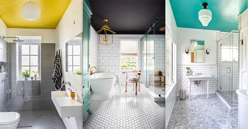 цветен таван в банята